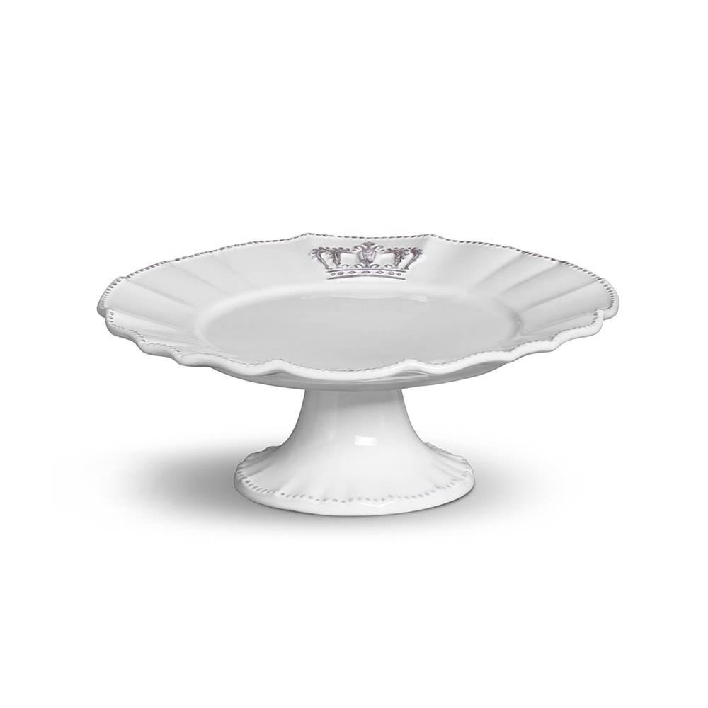 Prato de Bolo Pedestal Cerâmica Windsor Branco 30 Cm