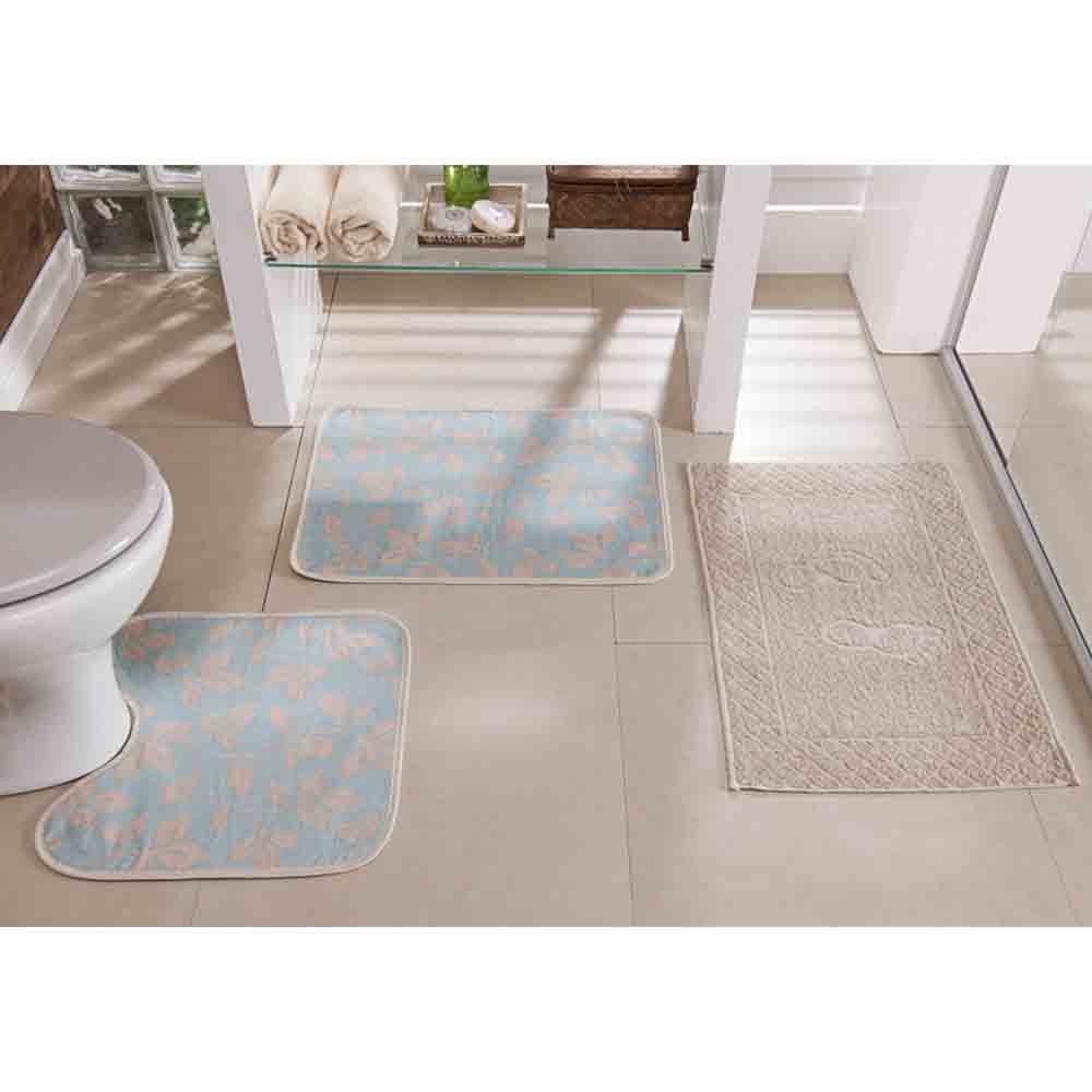Tapete Banheiro Floral Azul Claro 3 Peças