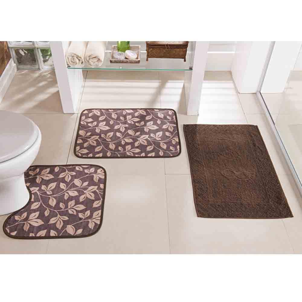 Tapete Banheiro Floral Café 3 Peças