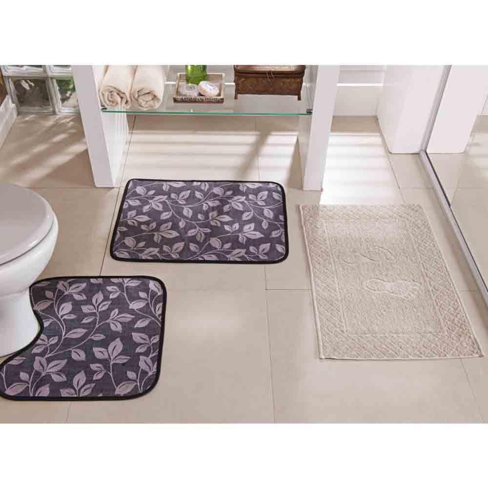 Tapete Banheiro Floral Cinza 3 Peças