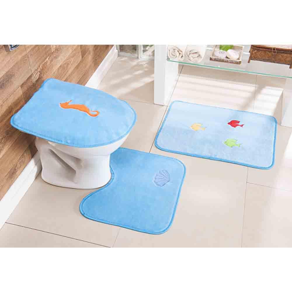 Tapete Banheiro Fundo do Mar Azul Turquesa 3 Peças