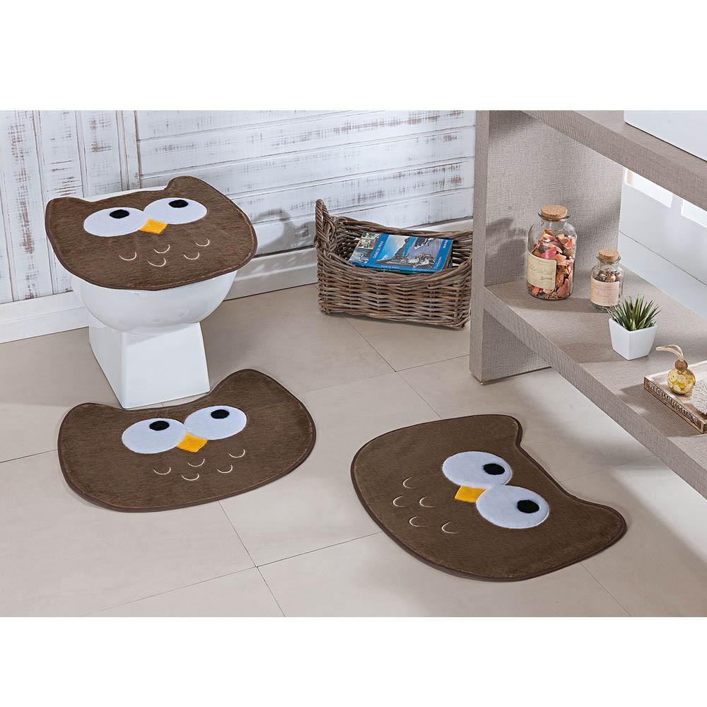 Tapete Banheiro Premium Coruja Castor 3 Peças
