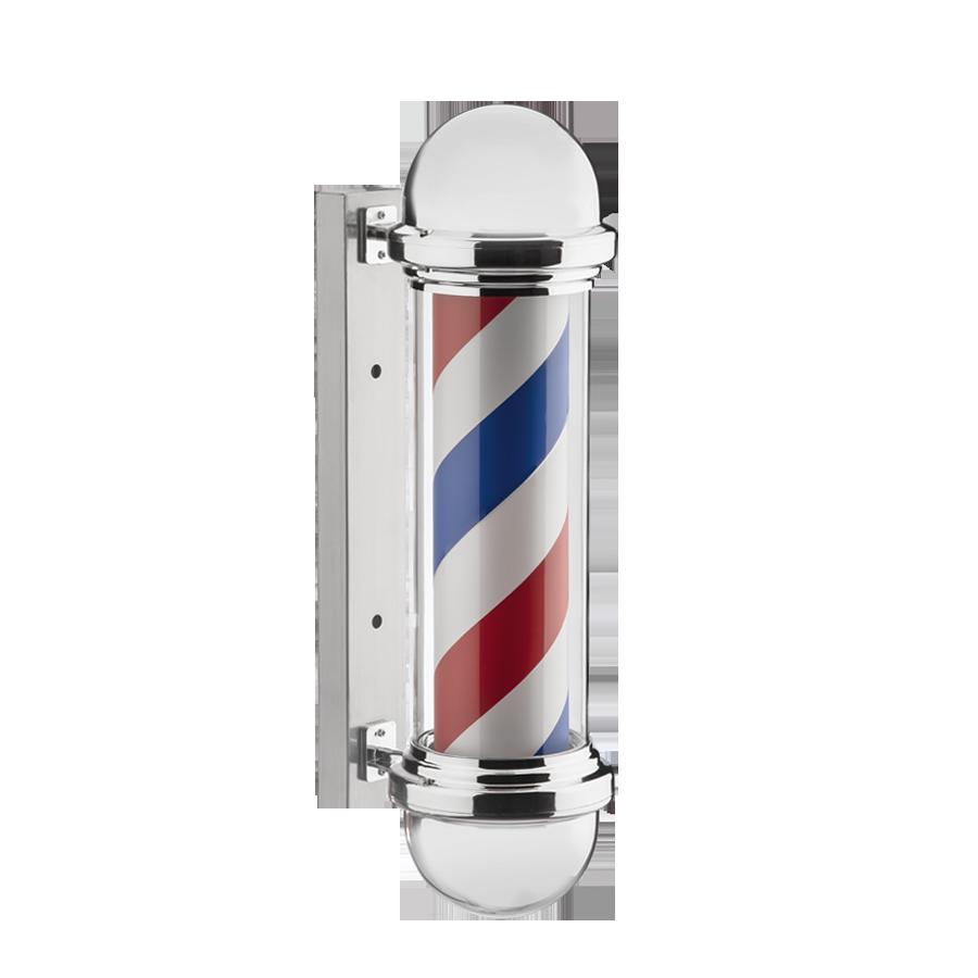 Barber Pole 70cm Poste Barbearia Barbeiro Inox Rotativo Luz Dompel