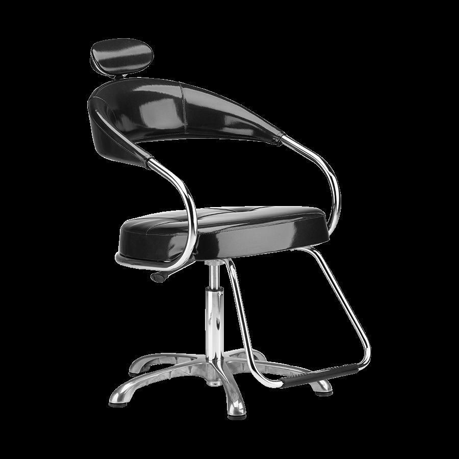 Cadeira Futura Manual Preta Plastificado - Pé Cromado Dompel