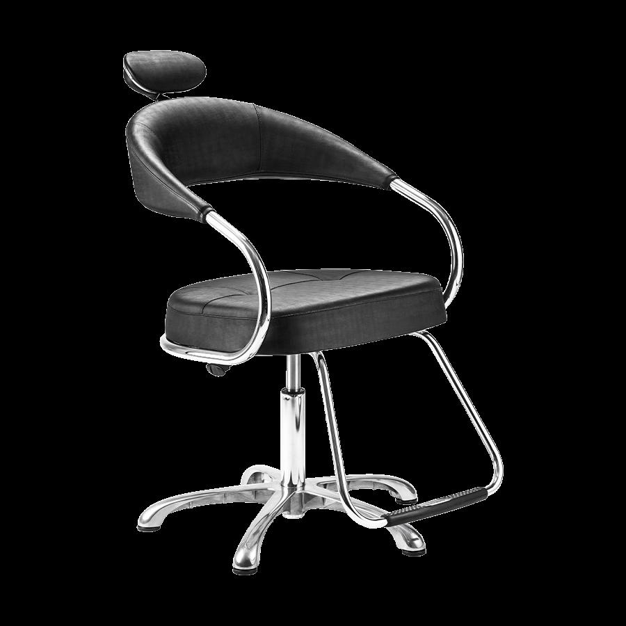 Cadeira Futura Manual Preta Plus - Pé Cromado Dompel
