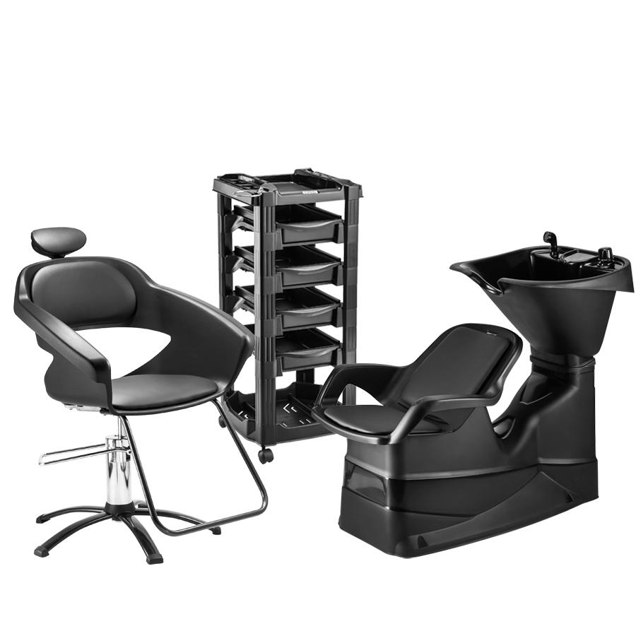 Combo Lavatório champ reclinável+ Cadeira Primma+ Carrinho Vegas Dompel