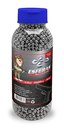 Municao BBs Esfera Metal Aco Niquel 4.5mm Leao - 4500 und