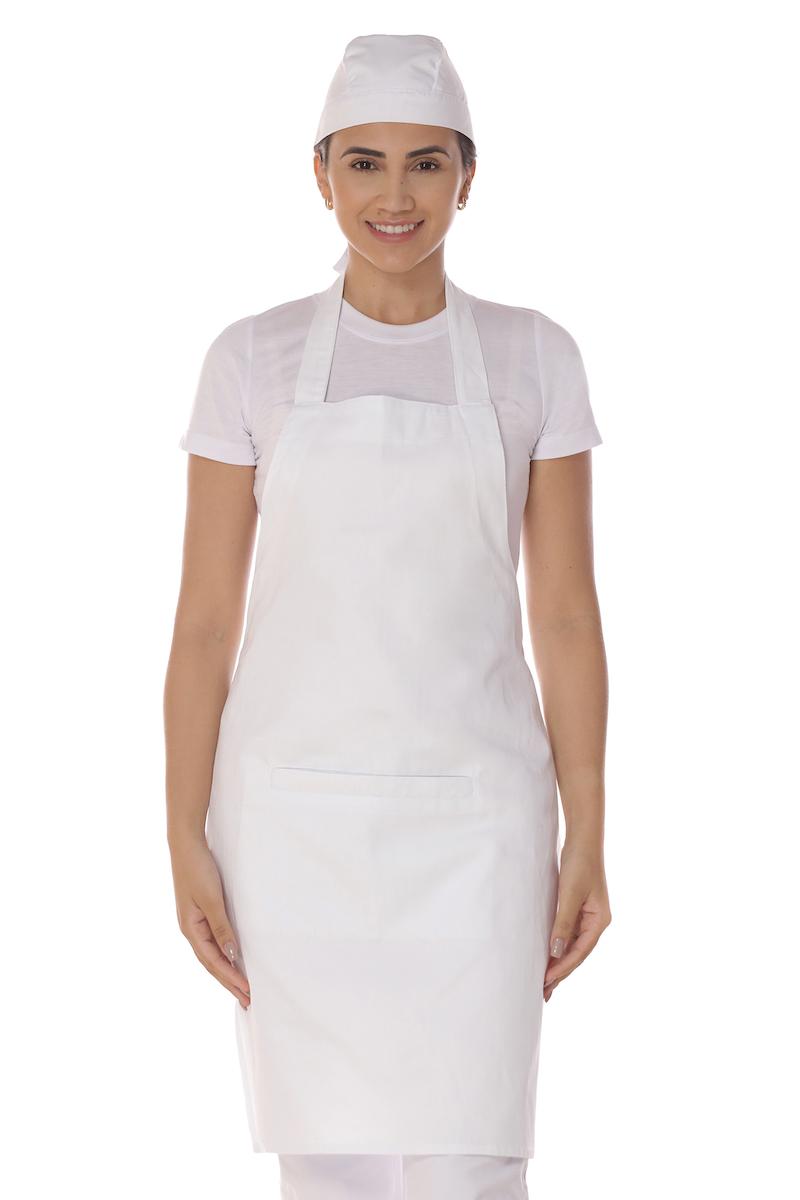Avental Com Bolso Brim Algodão Branco Unissex Cozinheiro Garçom