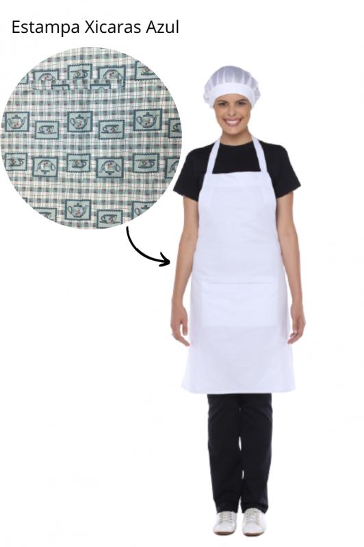 Avental de cozinha estampa xicaras azul