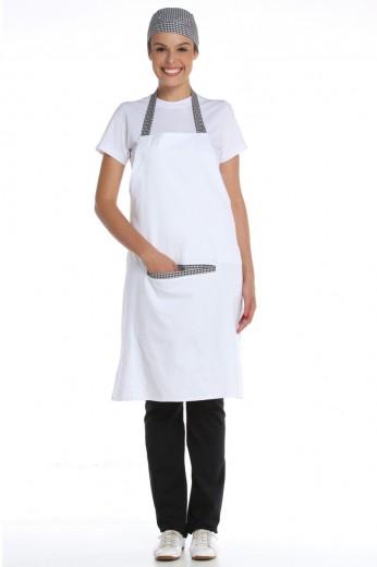 Avental Peito Branco com Detalhe Xadrez Algodão