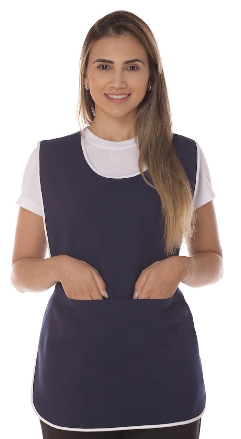Avental De Limpeza Azul Marinho Feminino