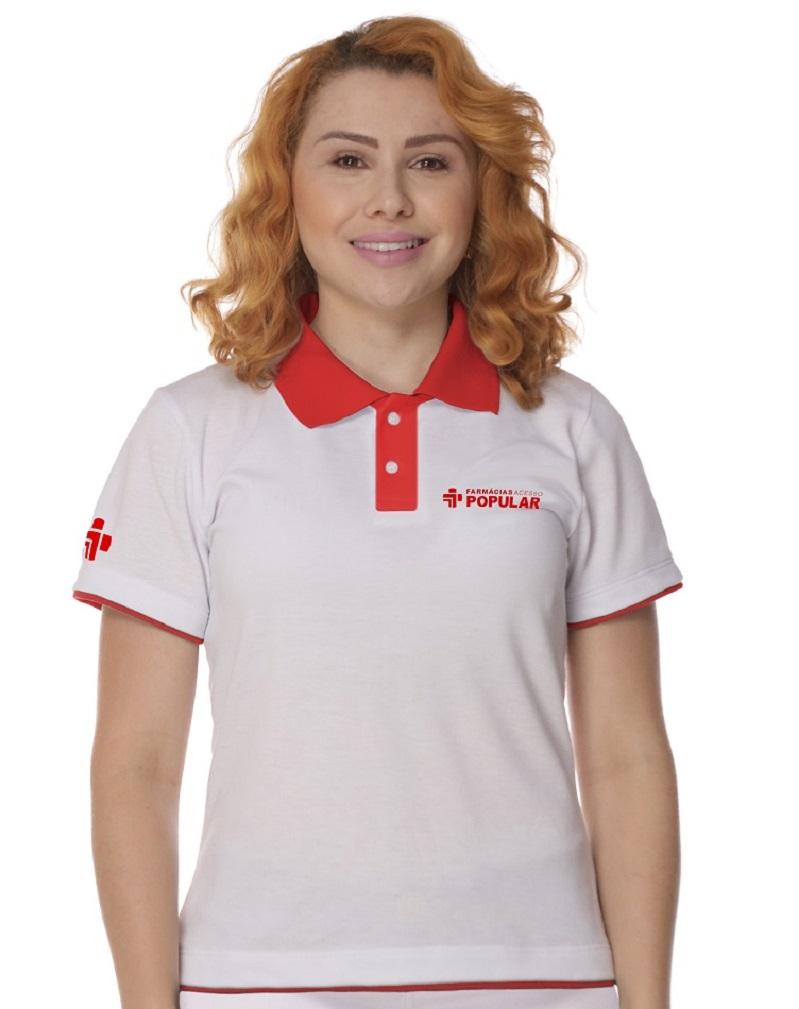 Camisa Gola Polo Branca Algodão Feminina