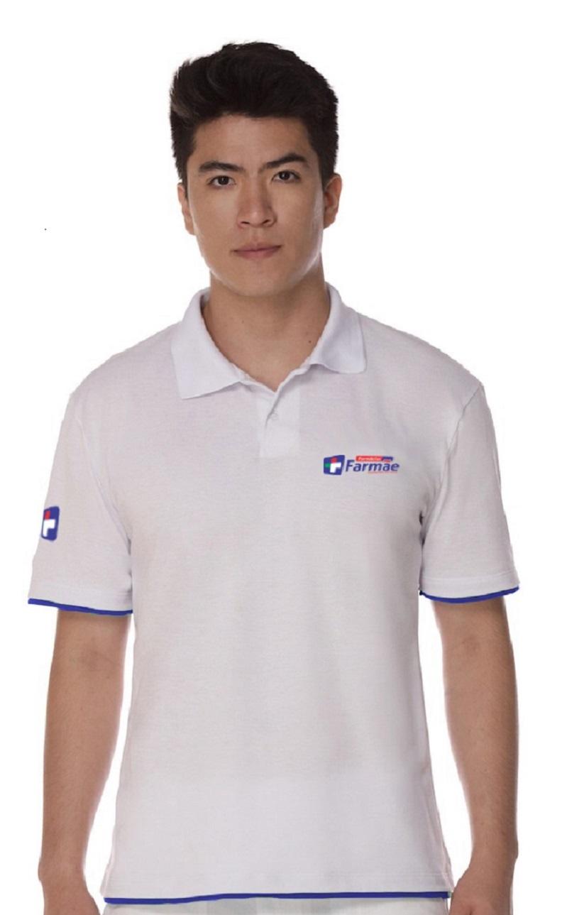 Camisa Gola Polo Branca Algodão Masculino