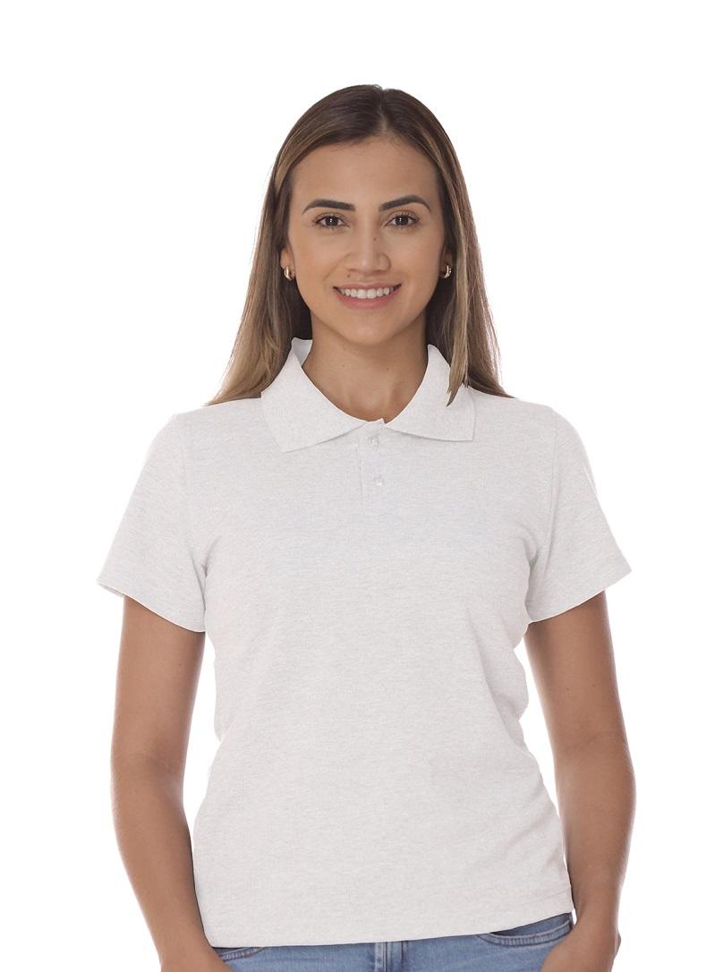 Camisa Gola Polo Básica Branca Piquet Feminina