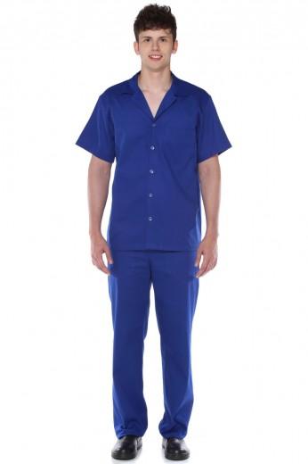 Camisa Manga Curta Aberta Brim 100% Algodão Masculina