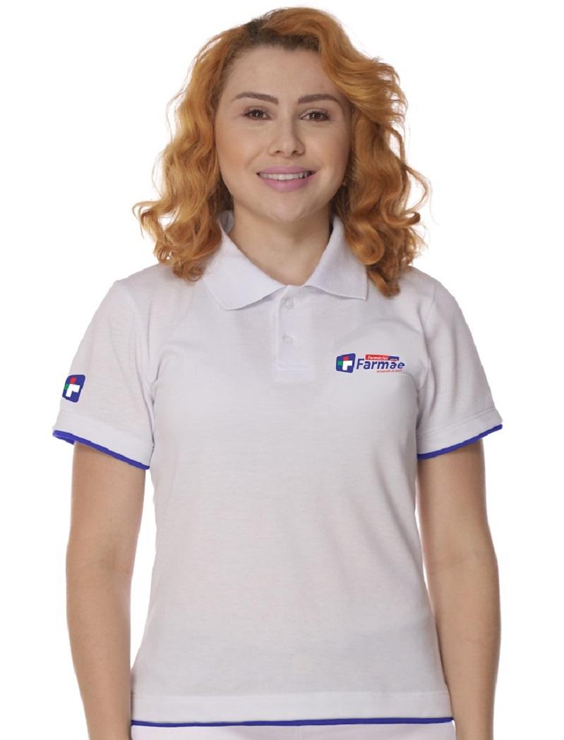 Camisa Gola Polo Branca Piquet Feminina