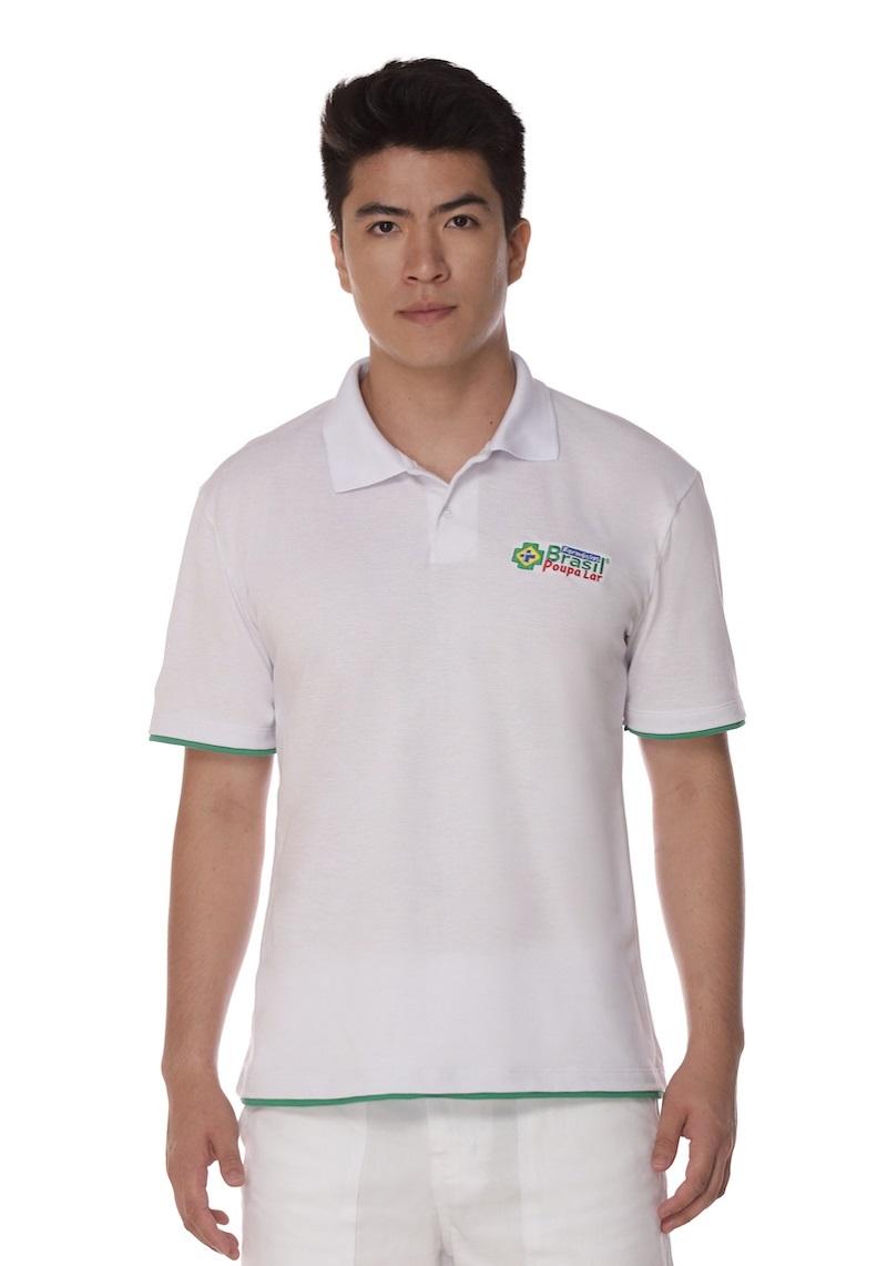 Camisa Manga Curta Gola Polo Masculina com Colarinho - Algodão