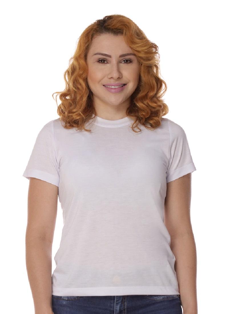 Camiseta Baby Look Branca 100% Algodão Feminina
