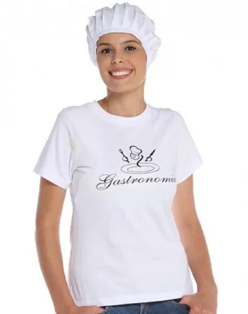 Camiseta Baby Look Gastronomia Branca Algodão Feminina
