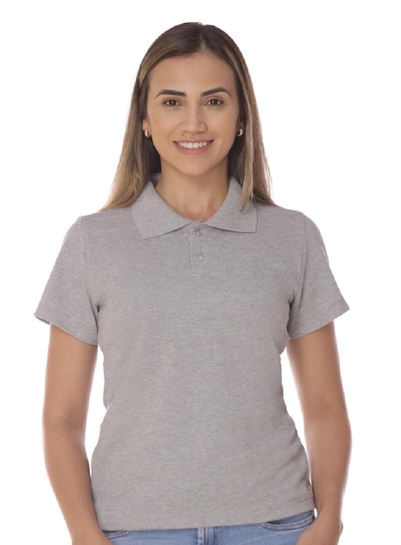 Camisa Gola Polo Cinza Mescla Piquet Feminina