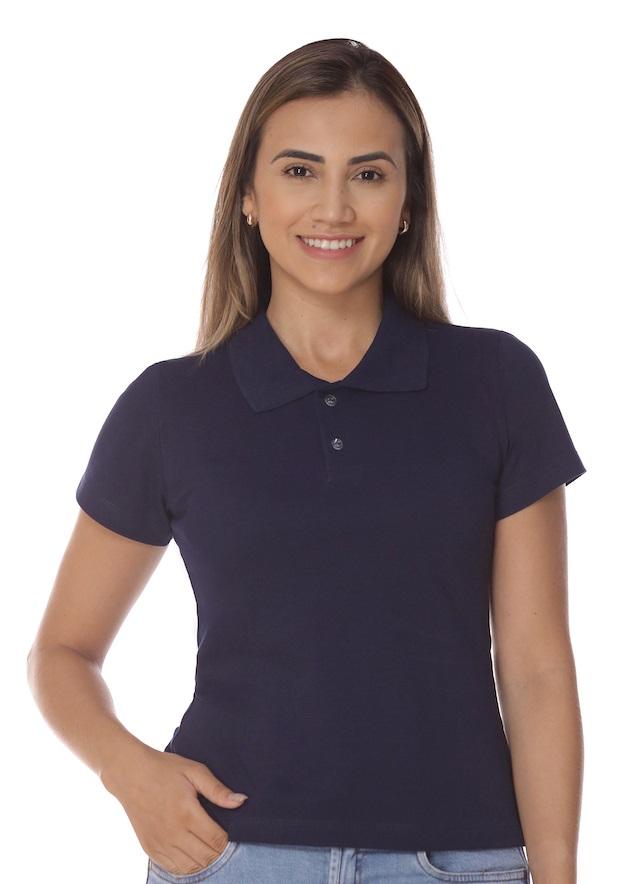 Camisa Gola Polo Marinho Piquet Feminina