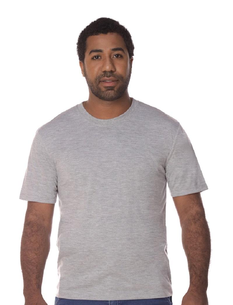 Camiseta Manga Curta Cinza Mescla PV Malha Fria Masculina