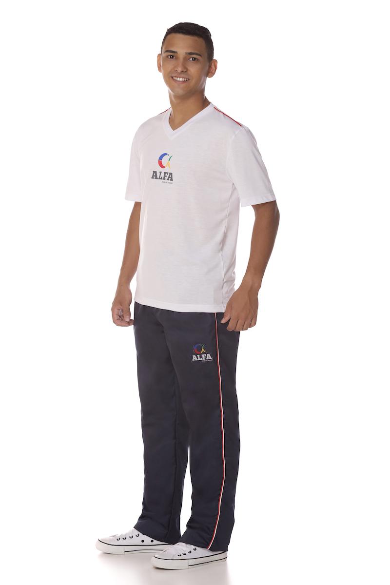 Camiseta Manga Curta Branca Colégio Alfa Tesla