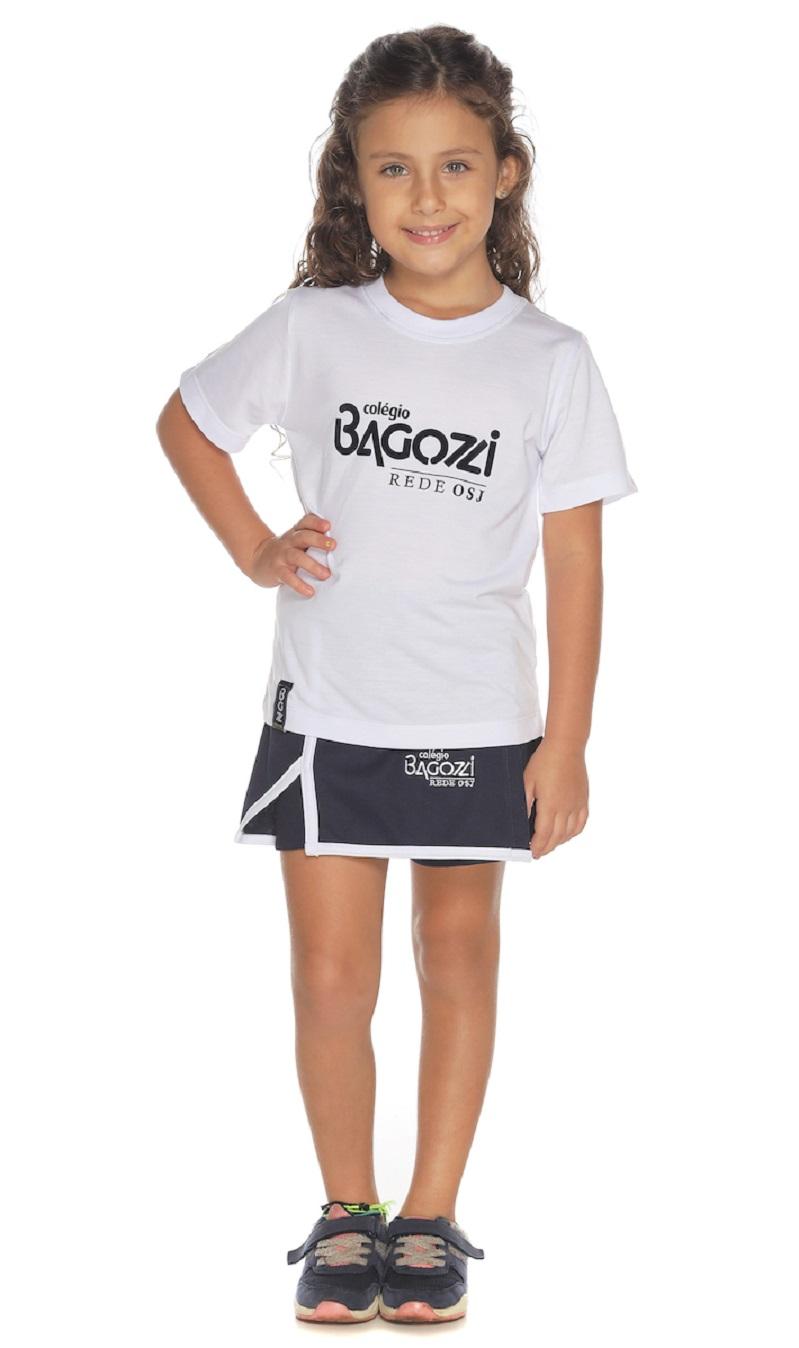 Camiseta Manga Curta Branca Colégio Bagozzi