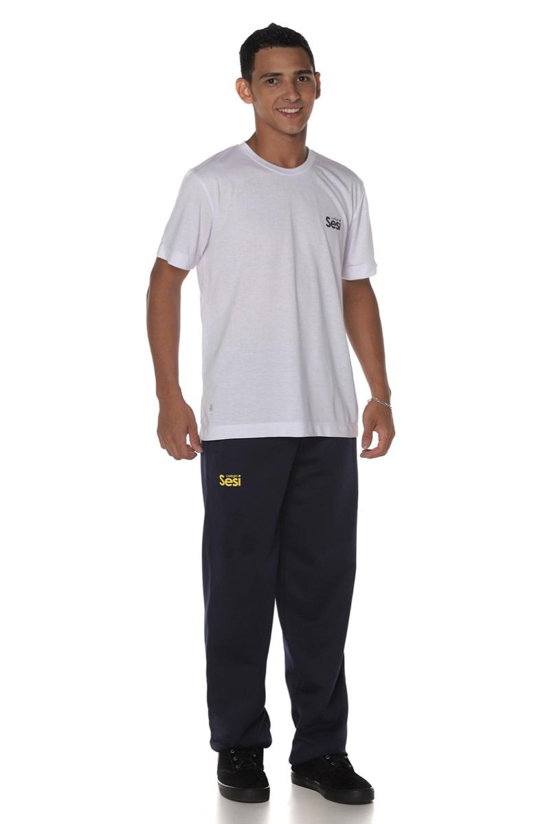 Camiseta Manga Curta Branca Colégio Sesi