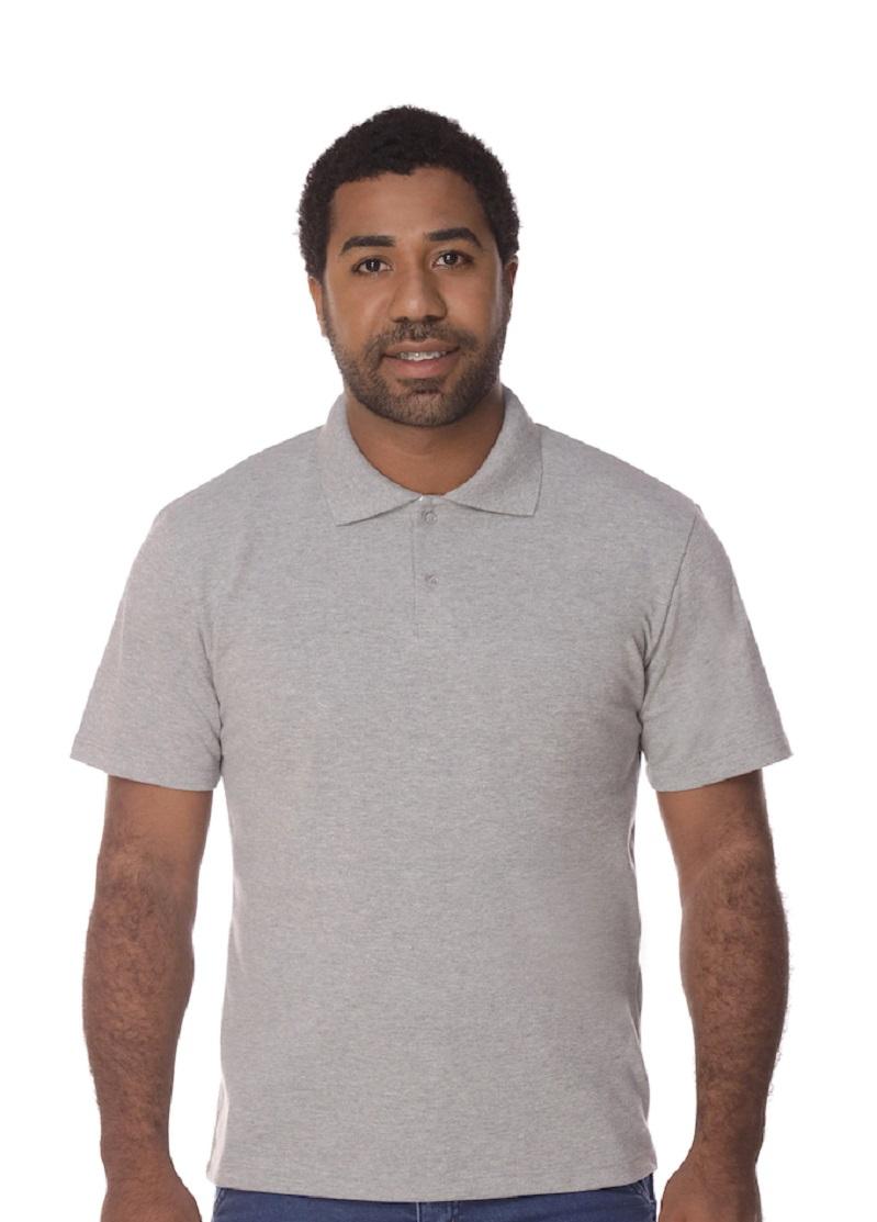 Camisa Gola Polo Cinza Mescla Piquet Masculina