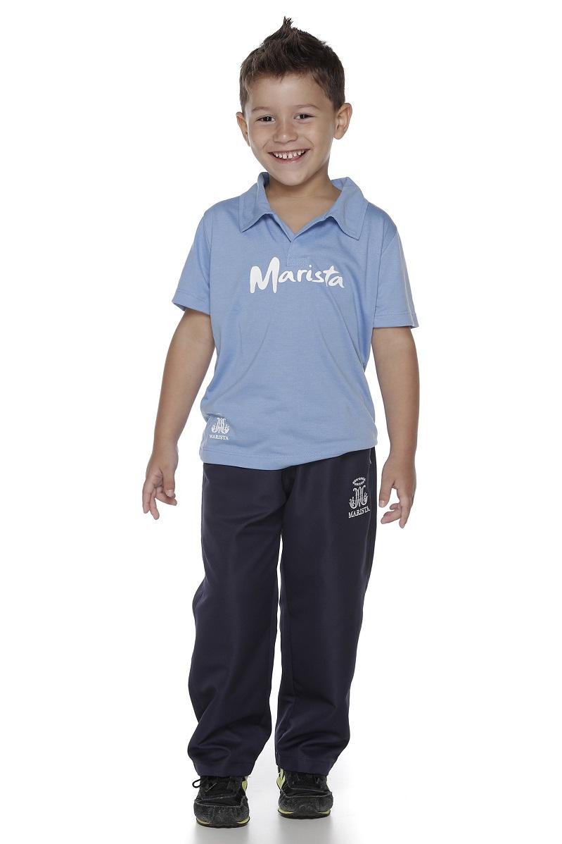 Camiseta Manga Curta Gola Polo Colégio Marista Infantil
