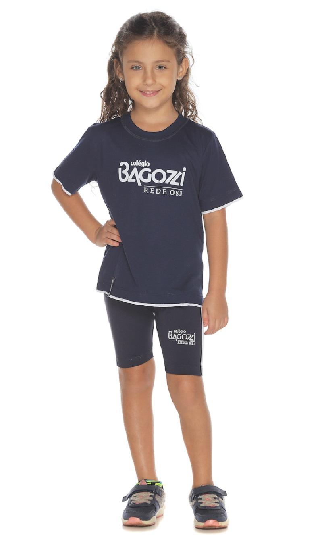 Camiseta Manga Curta Marinho Colégio Bagozzi