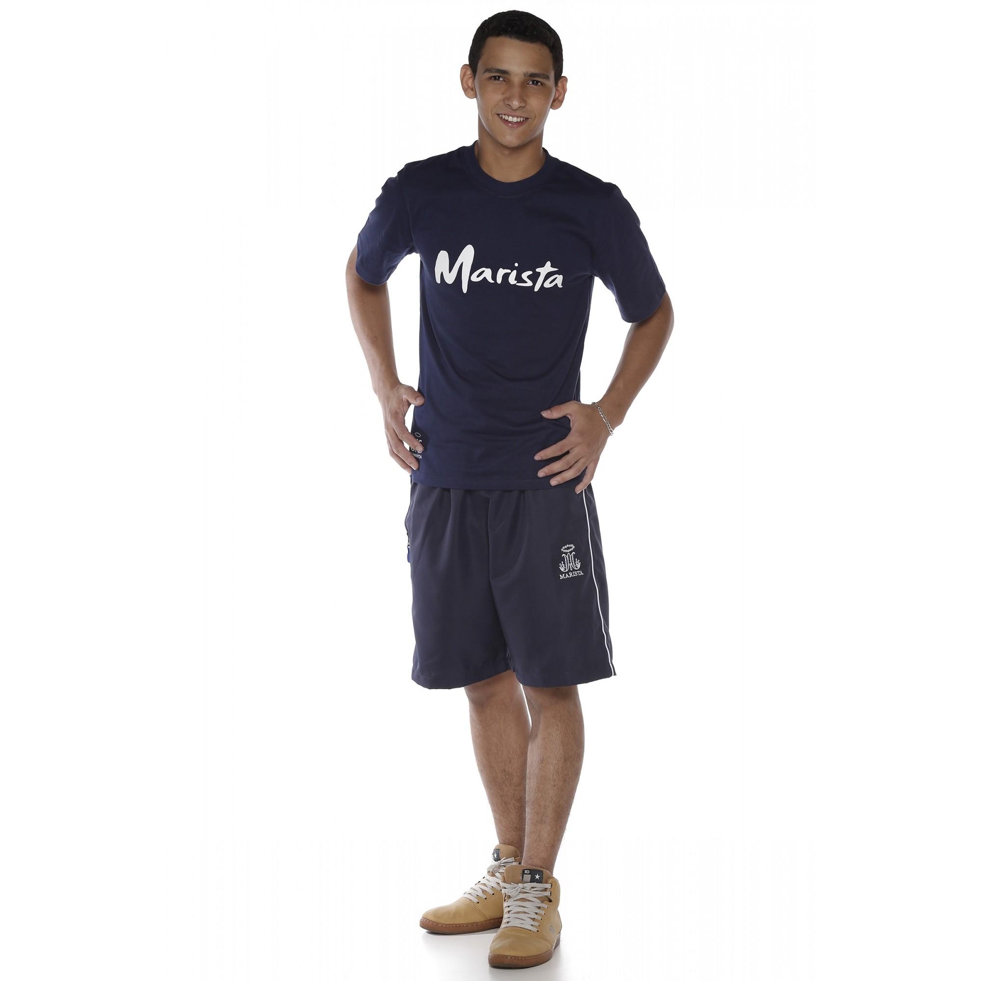 Camiseta Manga Curta Masculina Marinho Malha Algodão - Colégio Marista