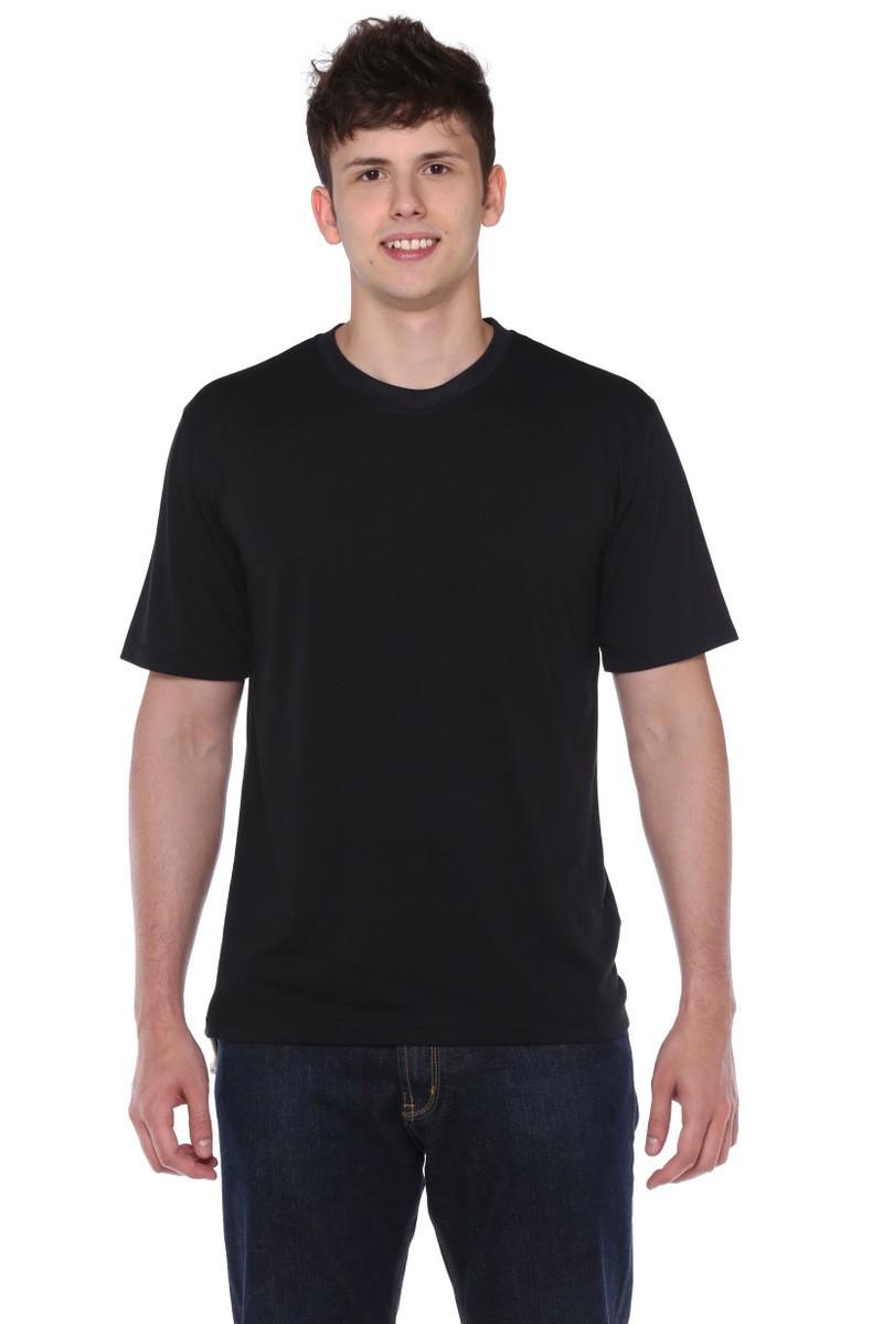 Camiseta Manga Curta Preta Fio 30 100% Algodão