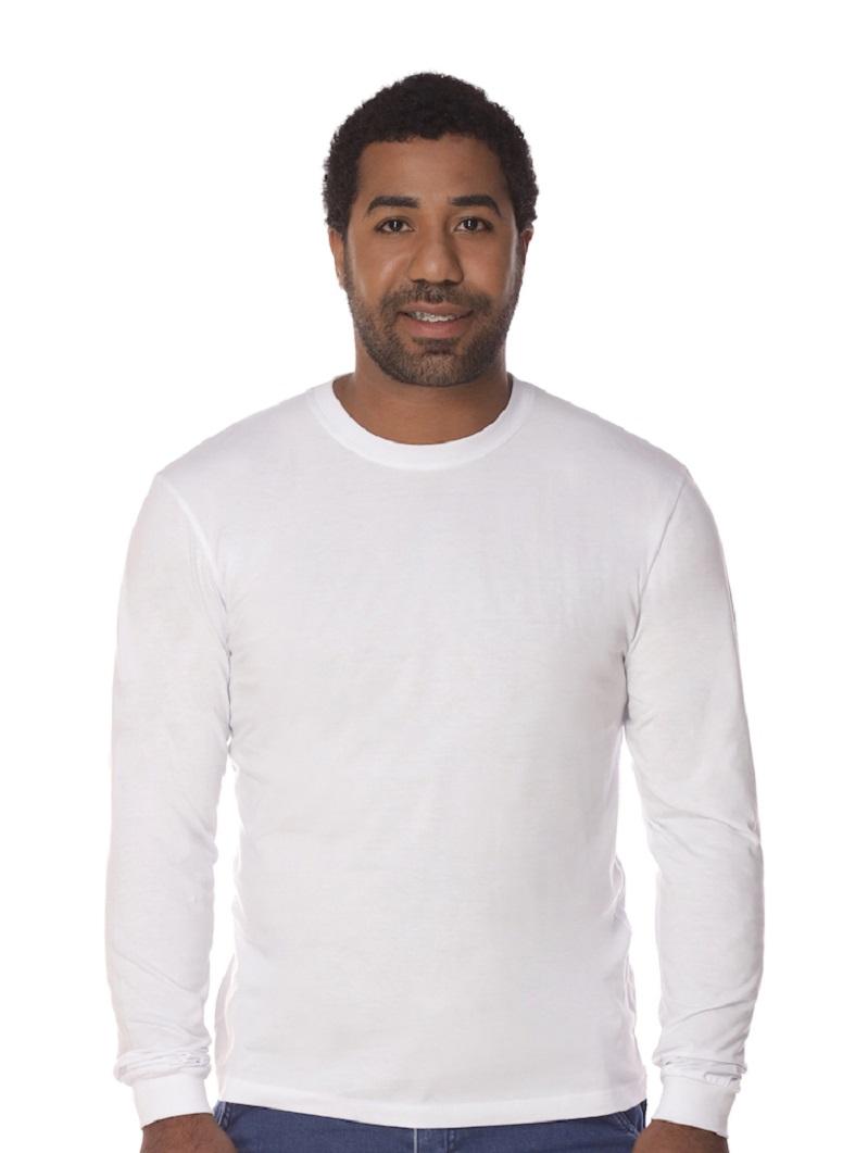 Camiseta Manga Longa Branca 100% Algodão Masculina