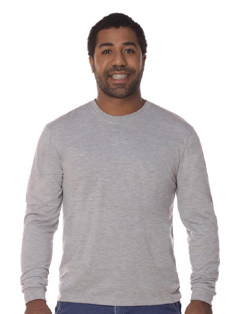 Camiseta Manga Longa Cinza PV Malha Fria Masculina