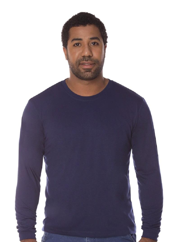 Camiseta Manga Longa Marinho PV Malha Fria Masculina