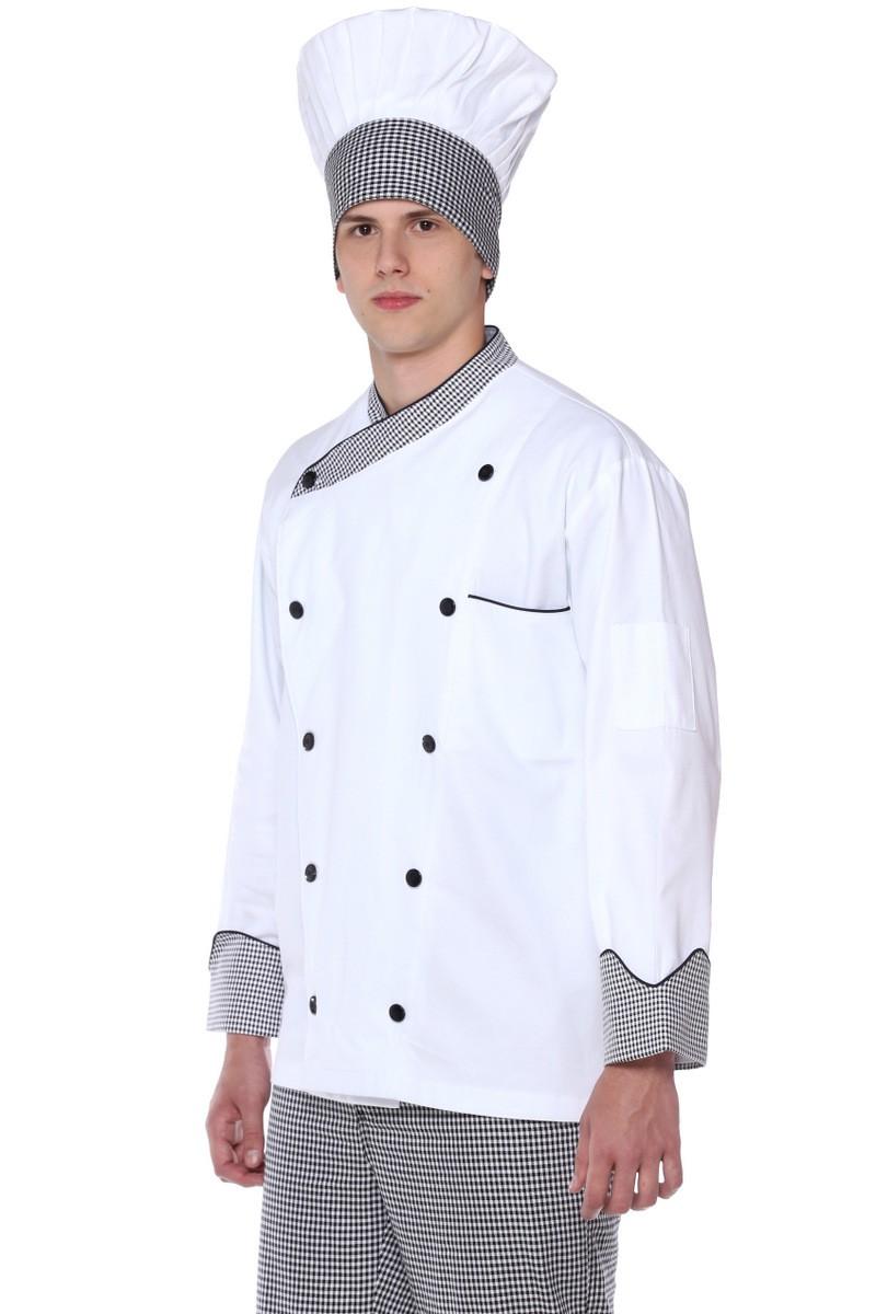 Chapéu Chef Cozinheiro Mestre Branco Com Detalhe Xadrez