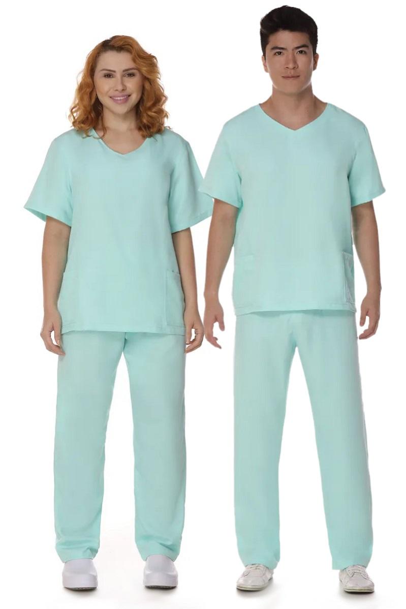 Conjunto Pijama Cirúrgico Verde Água Gabardine Unissex