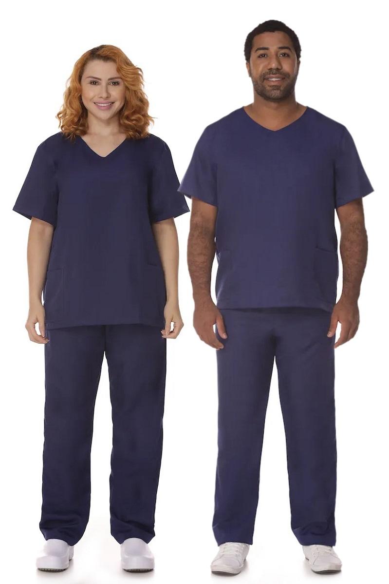 Conjunto Pijama Cirúrgico Azul Marinho Gabardine Unissex