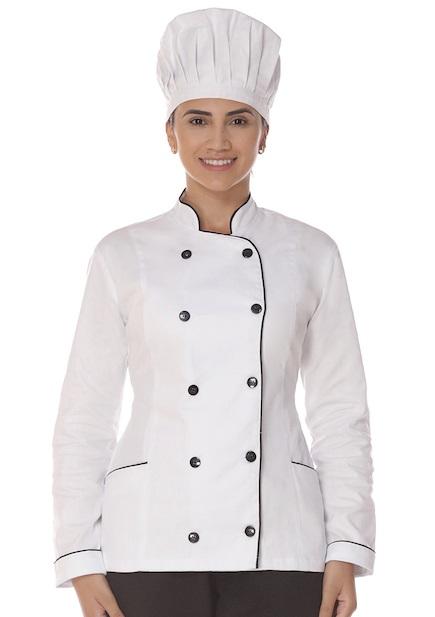 Dolma Chef Manga Longa Branca Feminina Cozinheiro Unissex