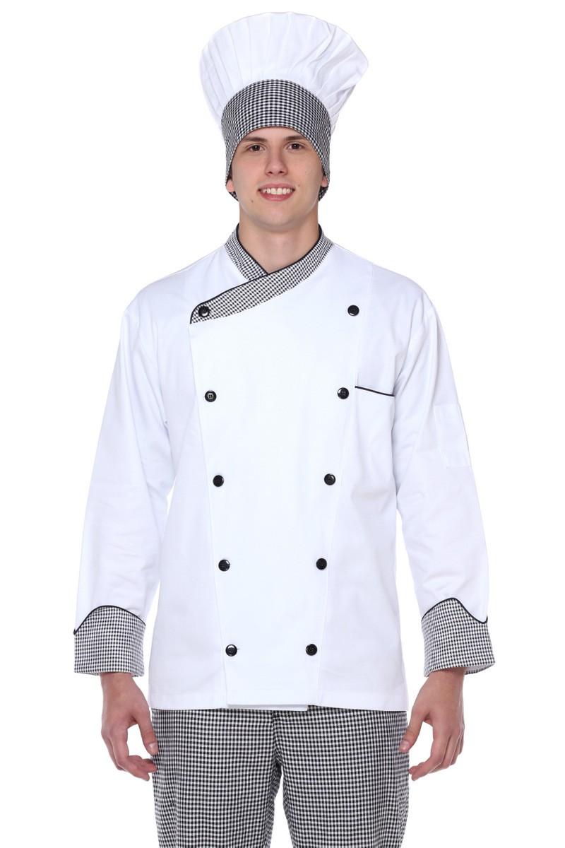 Dolma Chef Manga Longa Branco Com Xadrez Algodão Cozinheiro Unissex
