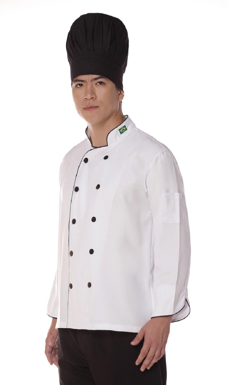 Dolma Chef Manga Longa Branco Algodão Cozinheiro Unissex