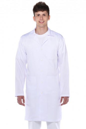 Jaleco Manga Longa Branco Tecido Misto Masculino
