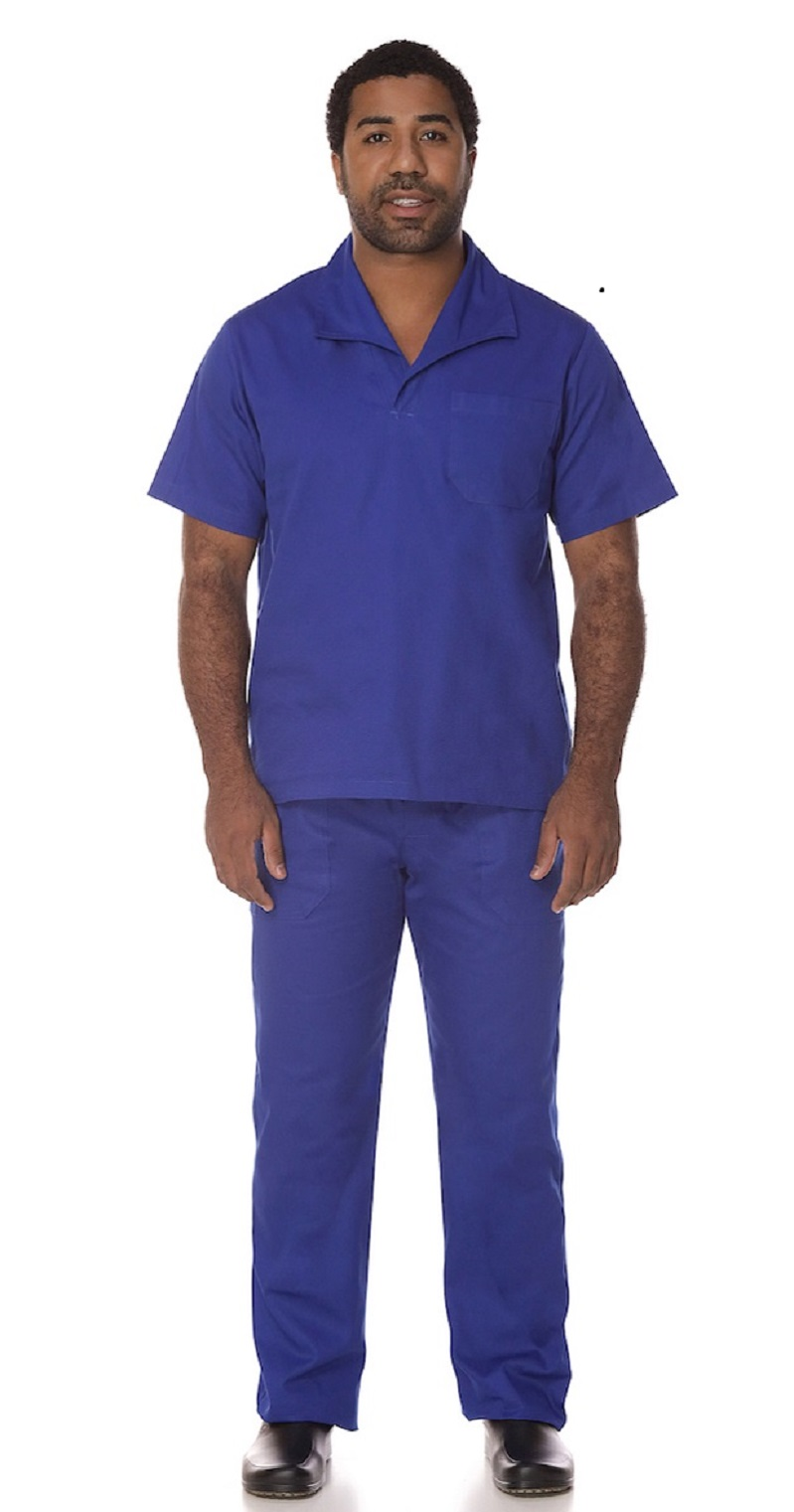 Kit Calça + Camisa Profissional de Brim Royal