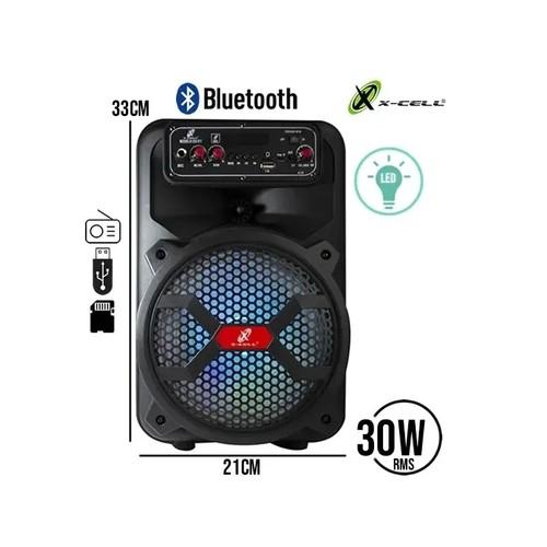 CAIXA DE SOM AMPLIFICADA BLUETOOTH 30W COM LED XC - 811