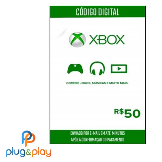 GIFT CARD XBOX LIVE R$ 50 REAIS
