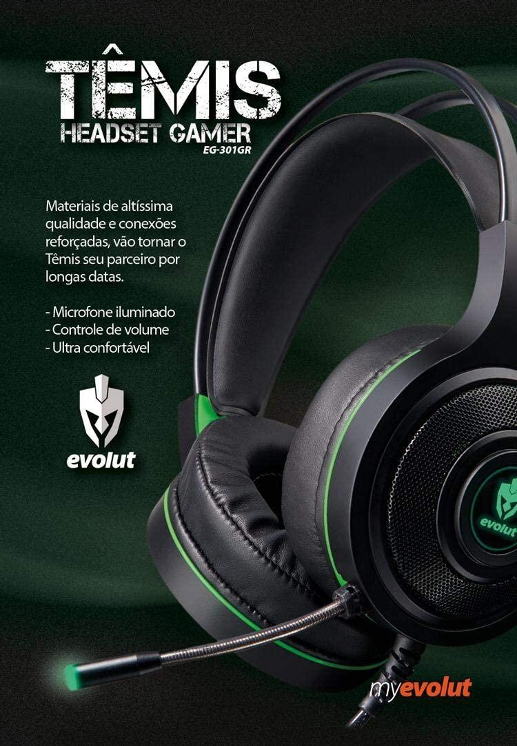 FONE DE OUVIDO HEADSET GAMER EVOLUT TEMIS EG - 301D