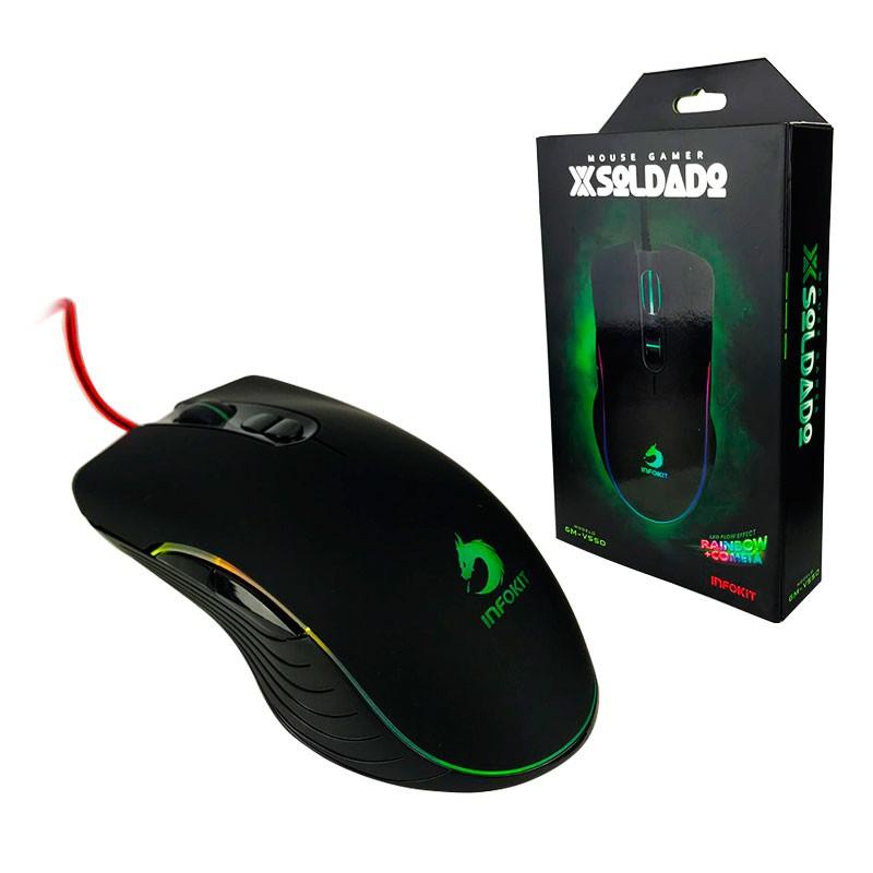 MOUSE GAMER USB X SOLDADO C 7 CORES 6400 DPI GM V550