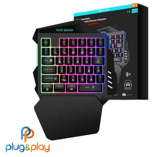 ONE HANDED KEYBOARD &MOUSE ADAPTER BLUETOOTH RGB LIGHT ANDROID/IOS MODEL I4 FOR SHOTTING GAMES